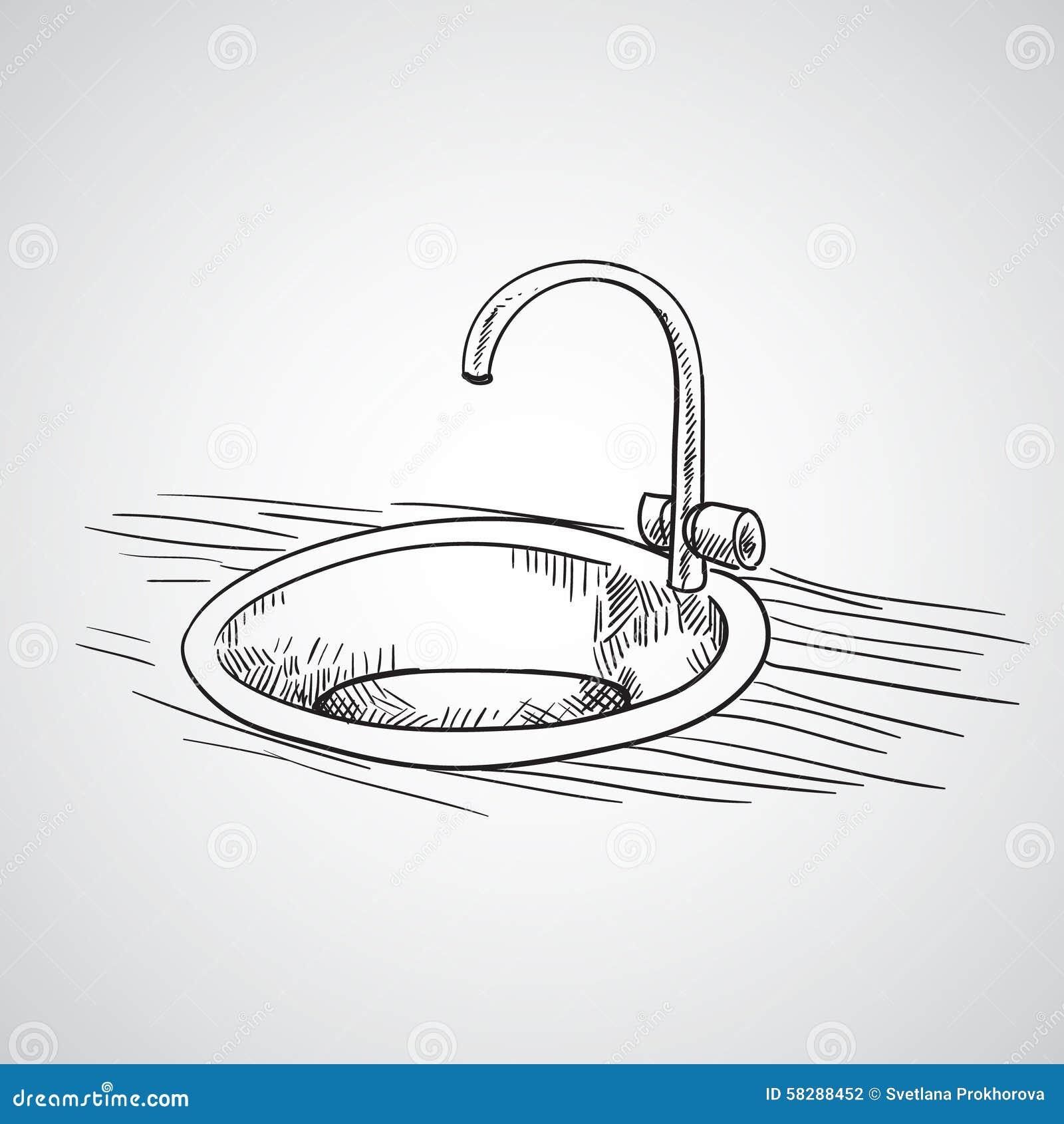 Bathroom sink drawing - Hand Drawn Sketch Hand Drawn Sketch Stock Vector Image 58288452