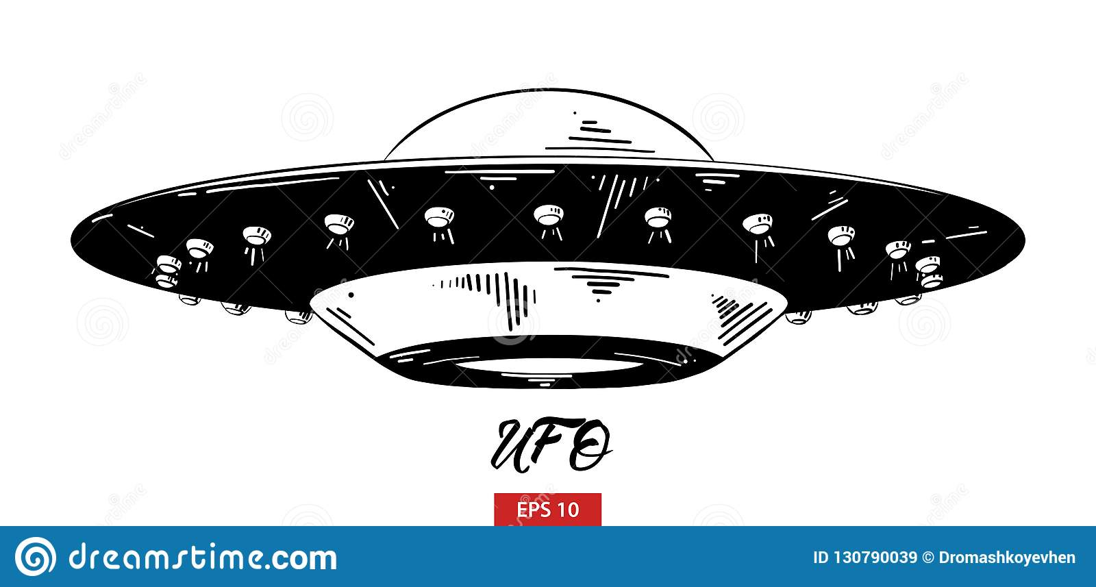Hand Drawn Sketch Of Ufo In Black Isolated On White