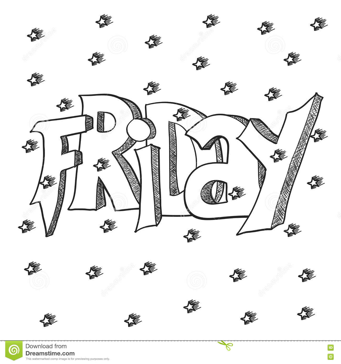 cute lettering of friday words for card graffity style text on the white background