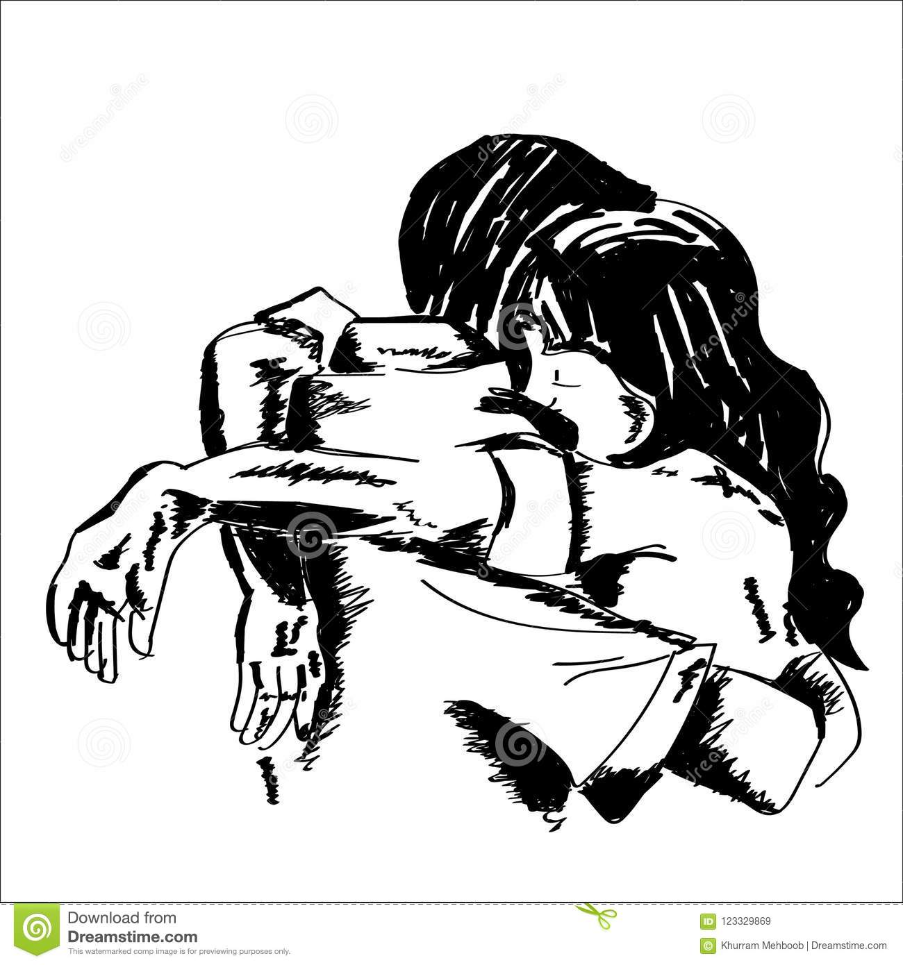 Hand drawn sketched young couple consoling each other and hugging