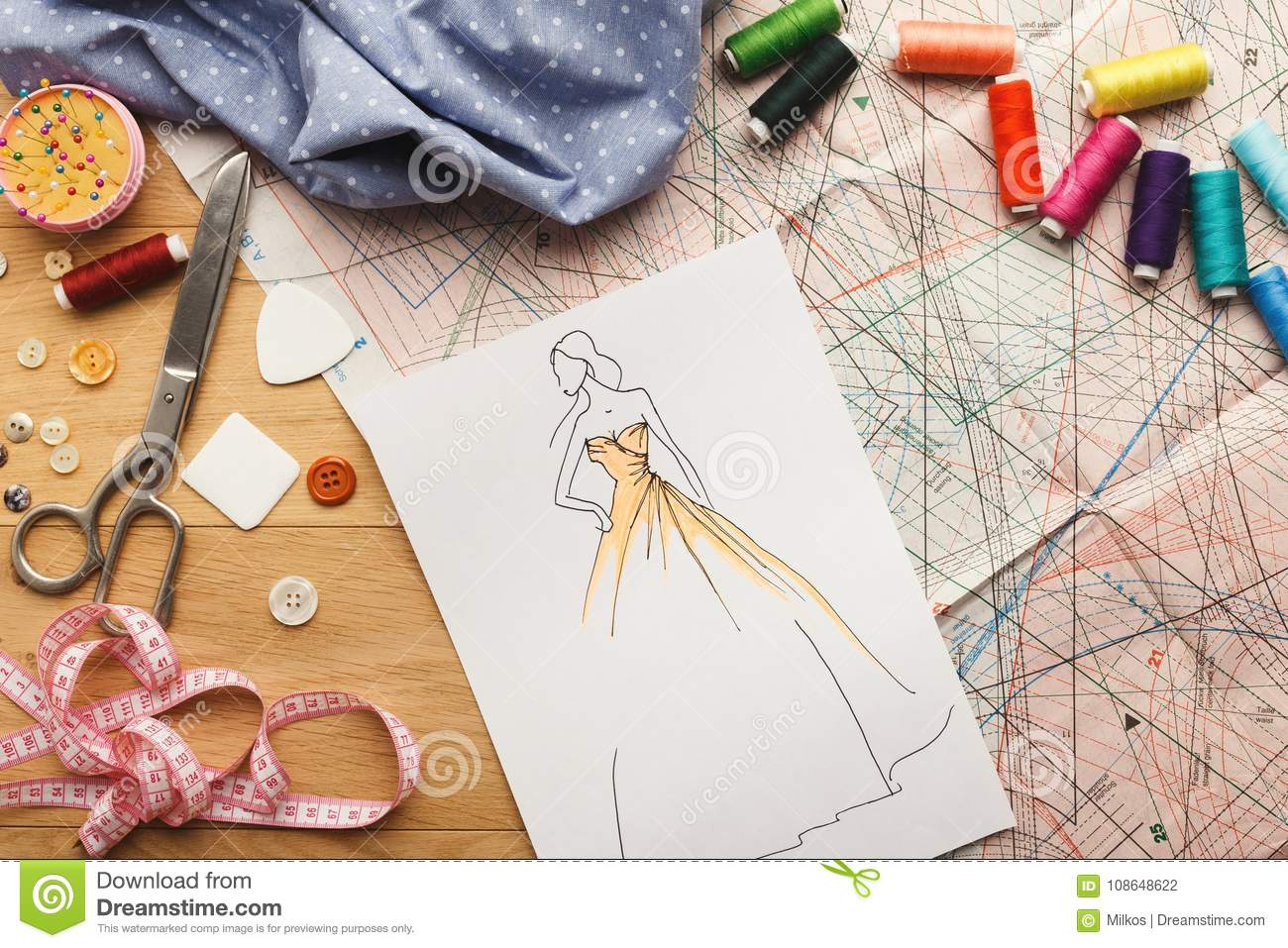 523dba855ae4b Hand Drawn Sketches For New Fashion Collection Stock Photo - Image ...
