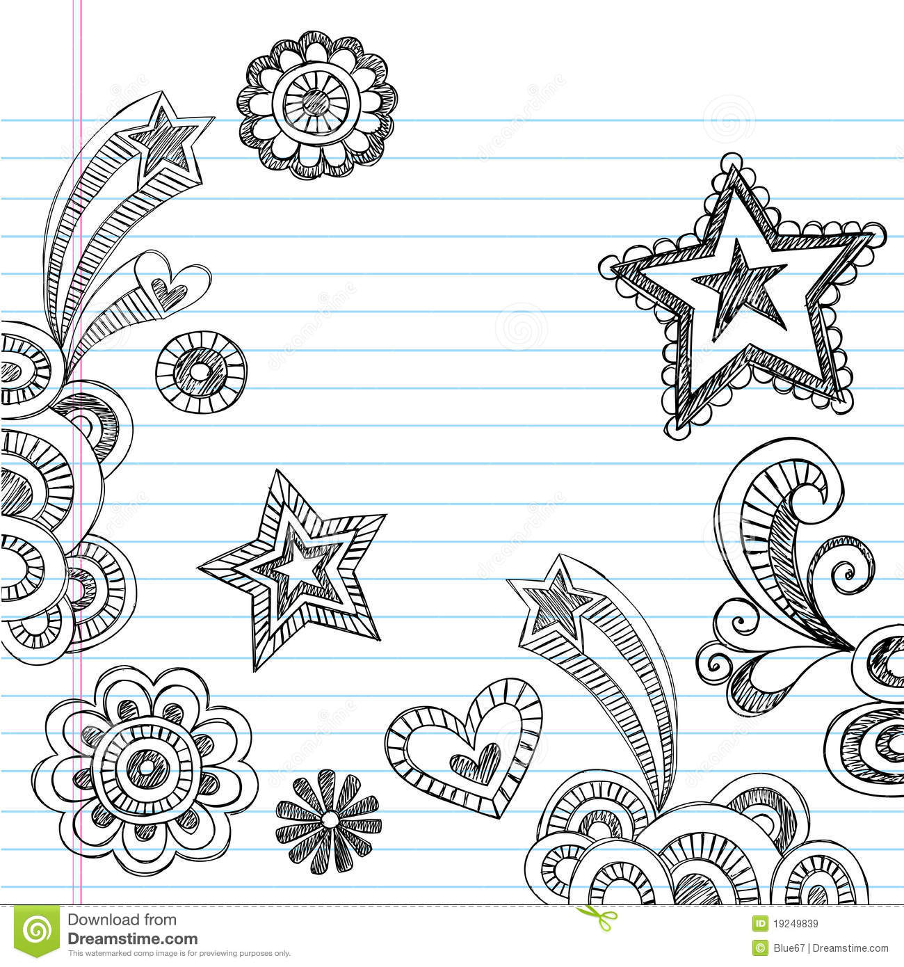 Hand drawn sketchy back to school doodles stock vector for Simple designs on paper