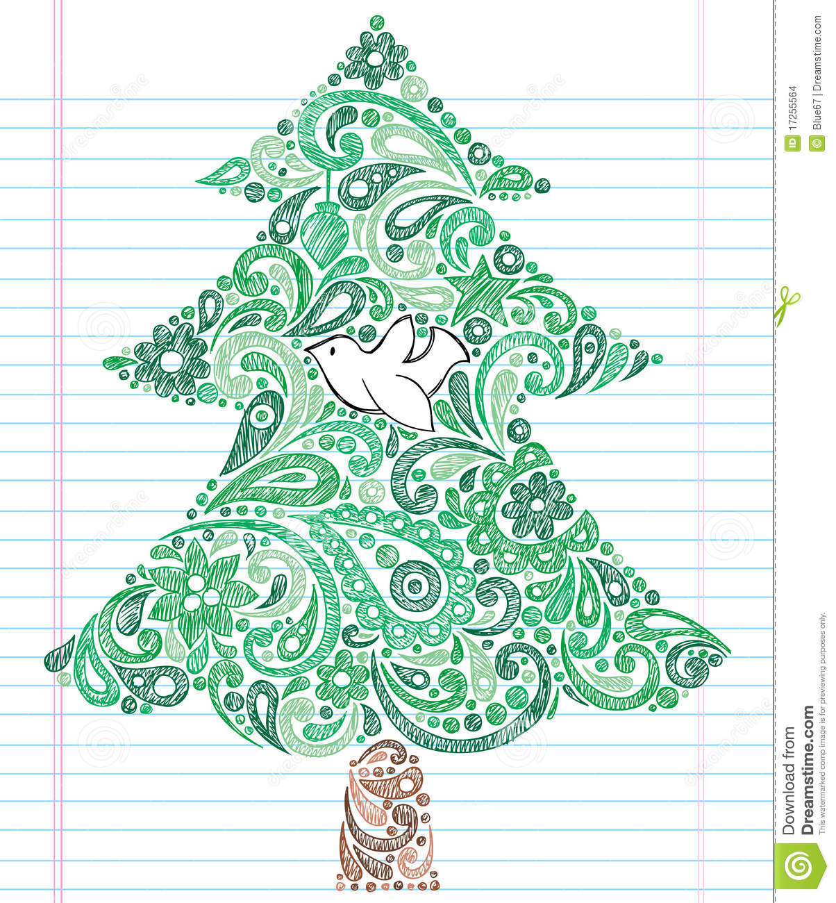 Hand-Drawn Sketchy Doodle Henna Paisley Christmas Tree with Dove ...