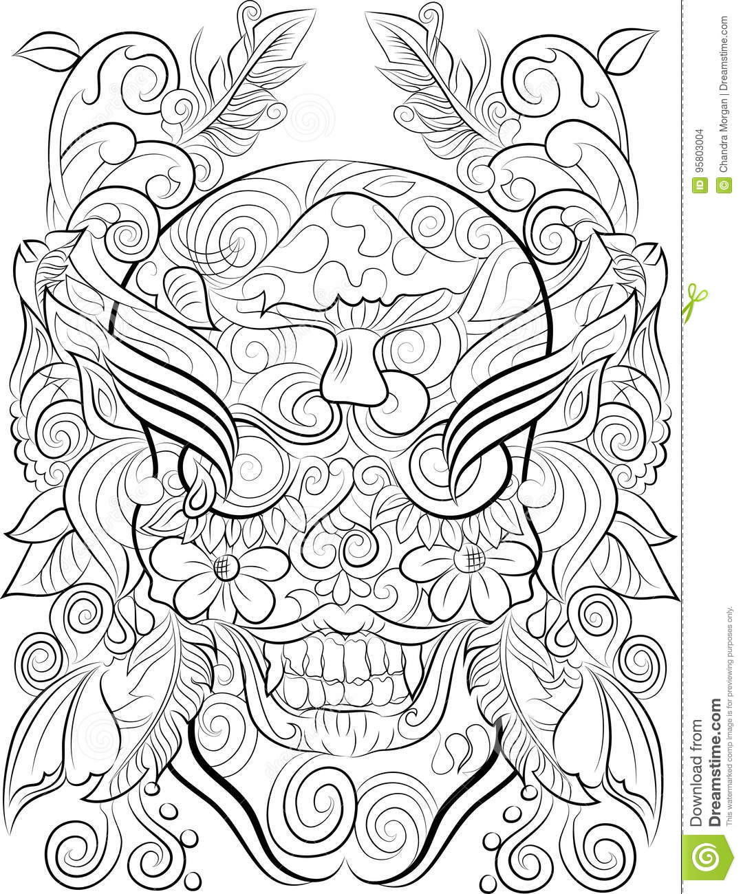 Hand Drawn Skull Colouring Page