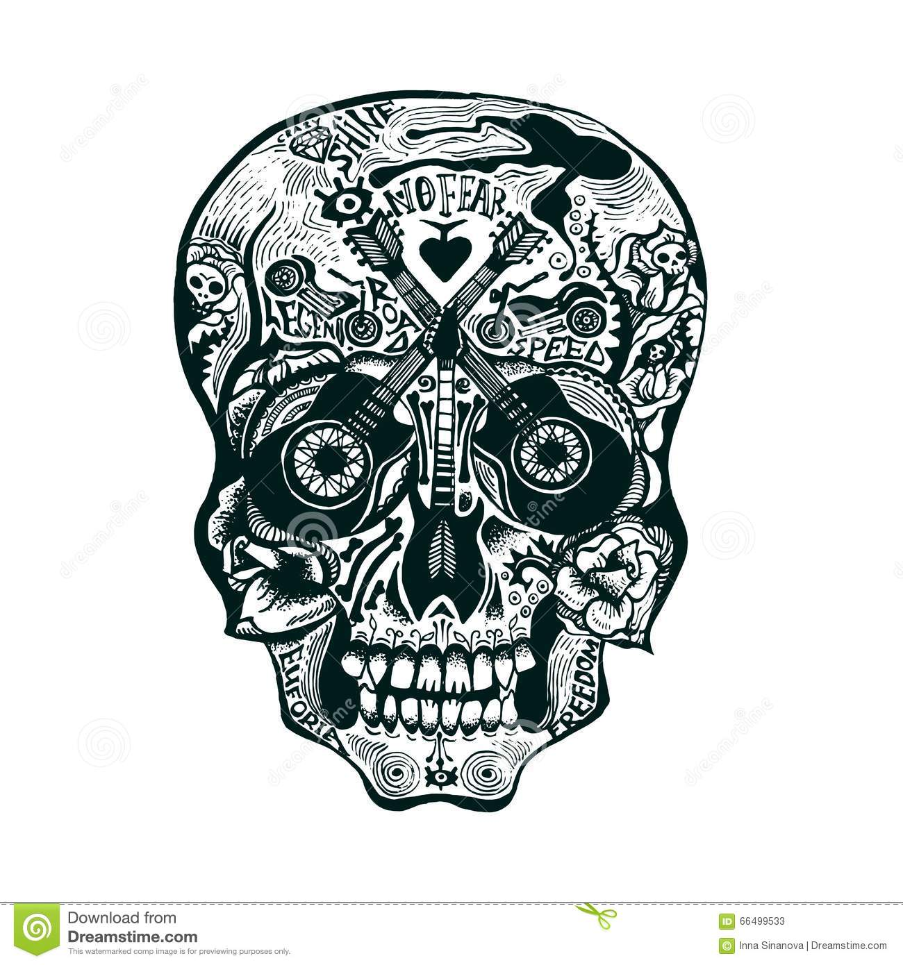 hand drawn skull rock style stock vector image 66499533