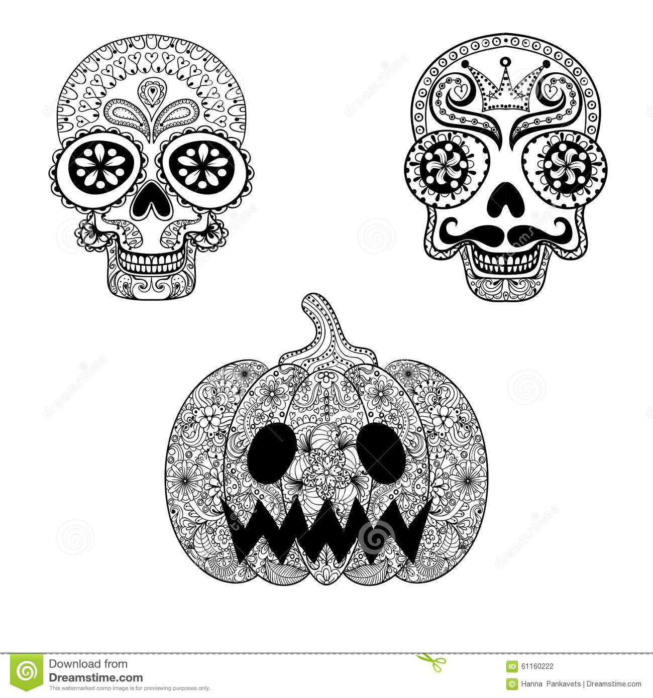 Hand Drawn Skulls And Pumpkin In Zentangle Style Halloween Totems For Tattoo Adult Coloring Page With High Details On White Background Vector Dead Skull