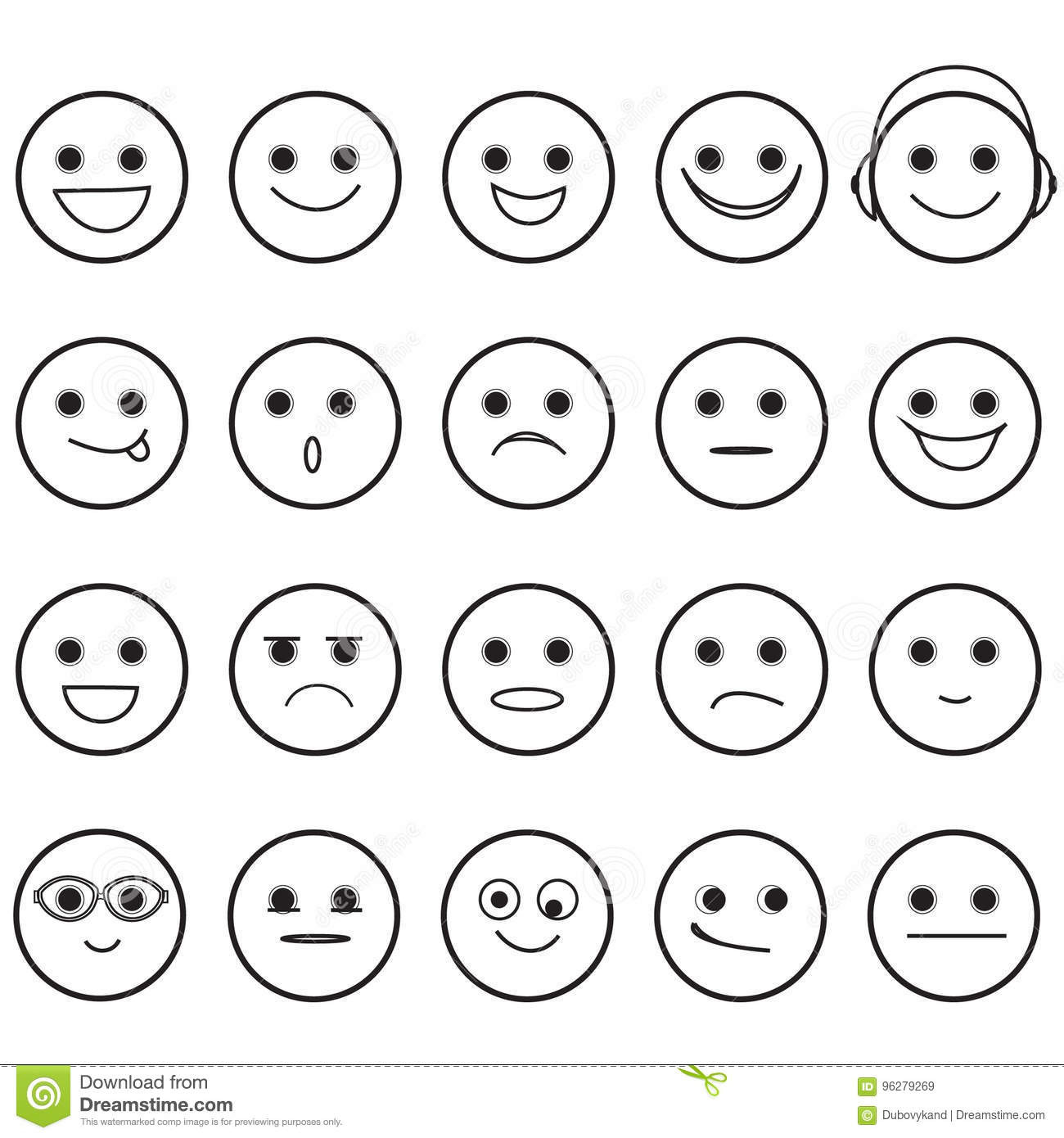 Hand Drawn Smiley Faces Emoji Icons Stock Vector ...