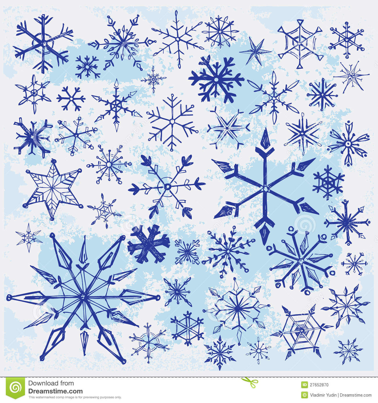 Hand drawn snowflakes stock vector image of