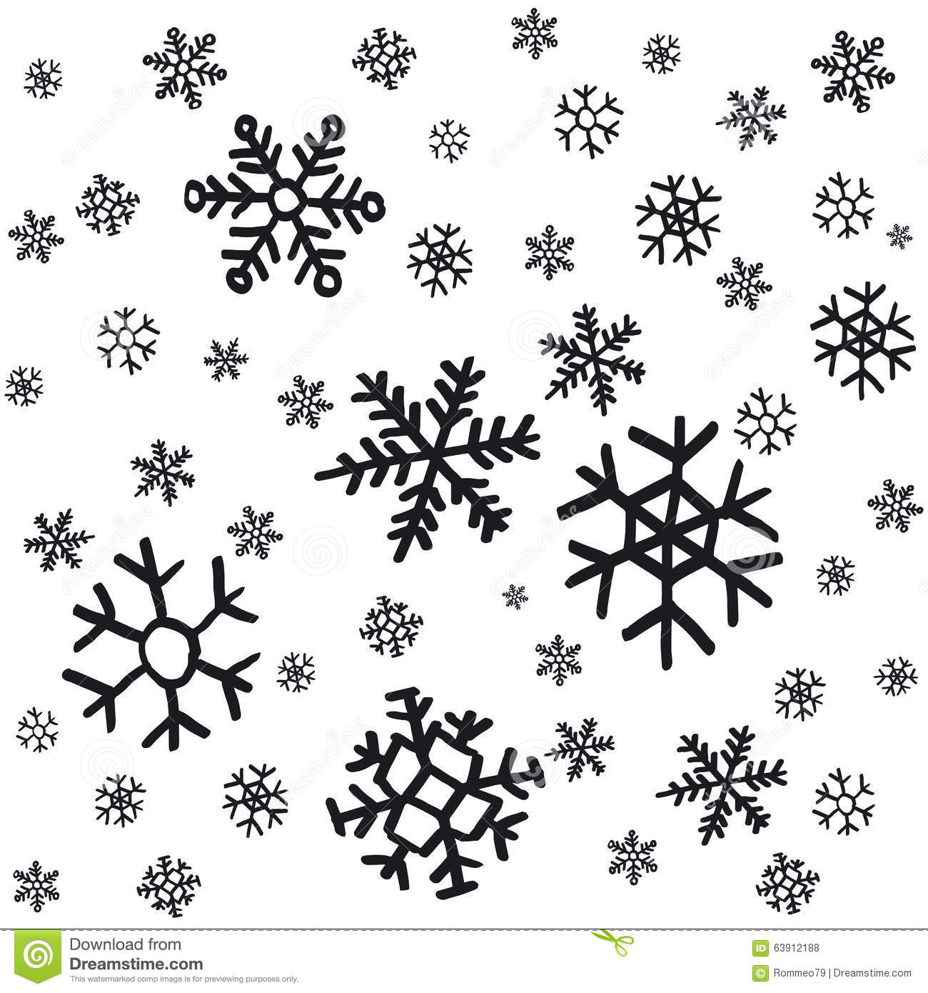 Hand drawn snowflakes christmas ornaments made from