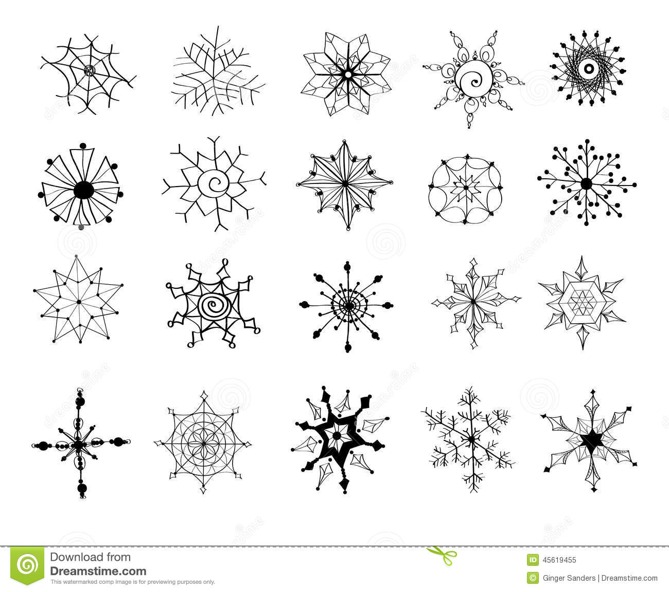 Snowflake Doodle Clip Art Instant Download Snowflakes by Nedti