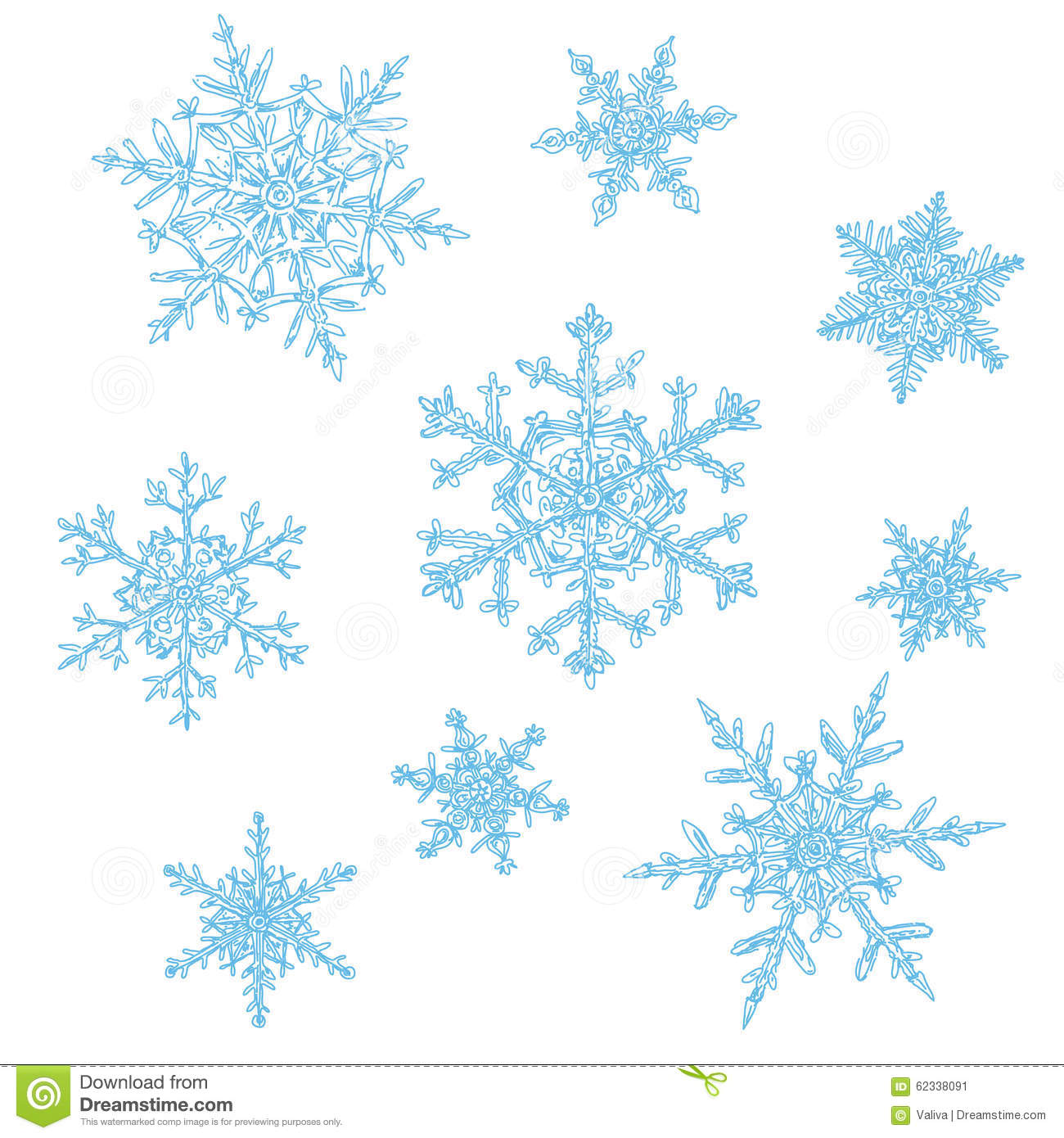 Hand drawn snowflakes stock vector illustration of