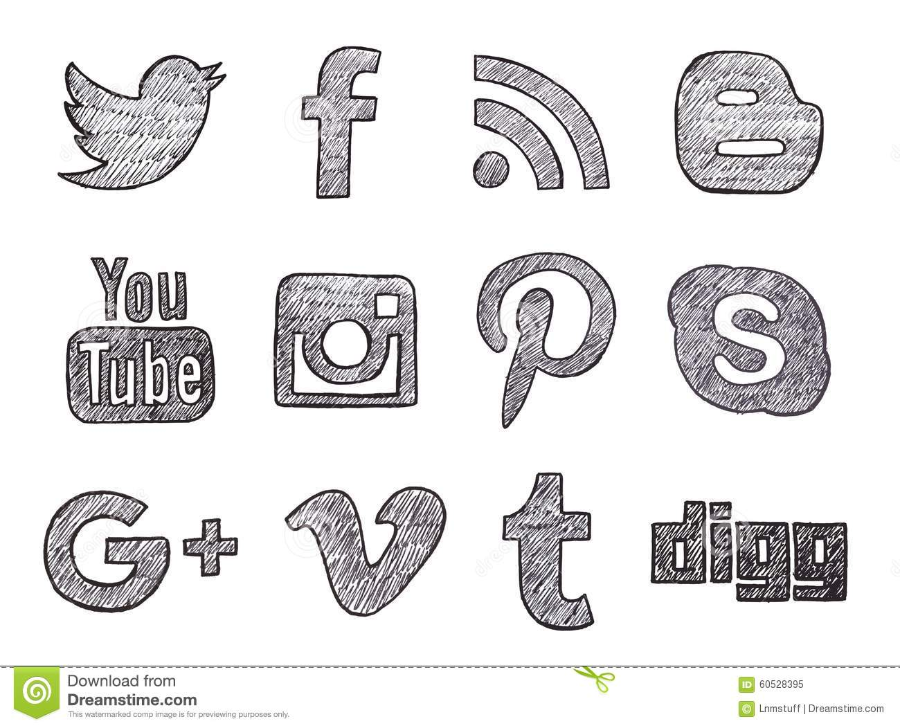 hand drawn social media buttons editorial image illustration of
