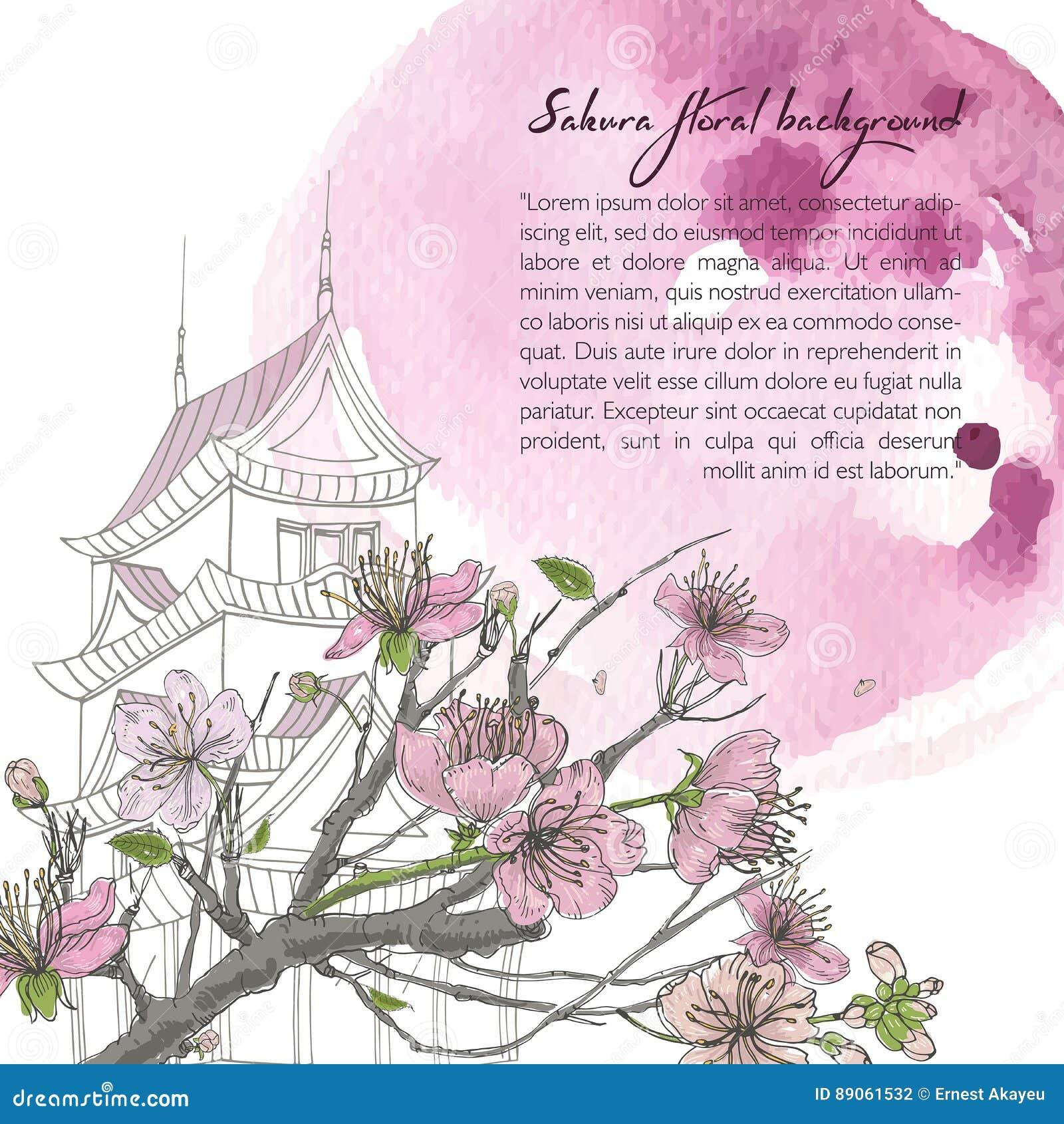 Hand Drawn Spring Background With Blooming Sakura, Japanese House ...