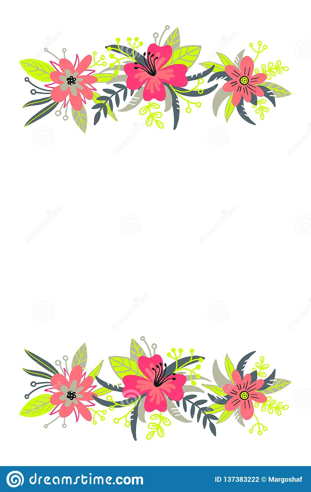 Hand drawn spring typography poster with cute colorful flowers in flat style. Vector illustration for 8 March Woman`s Day, Mother