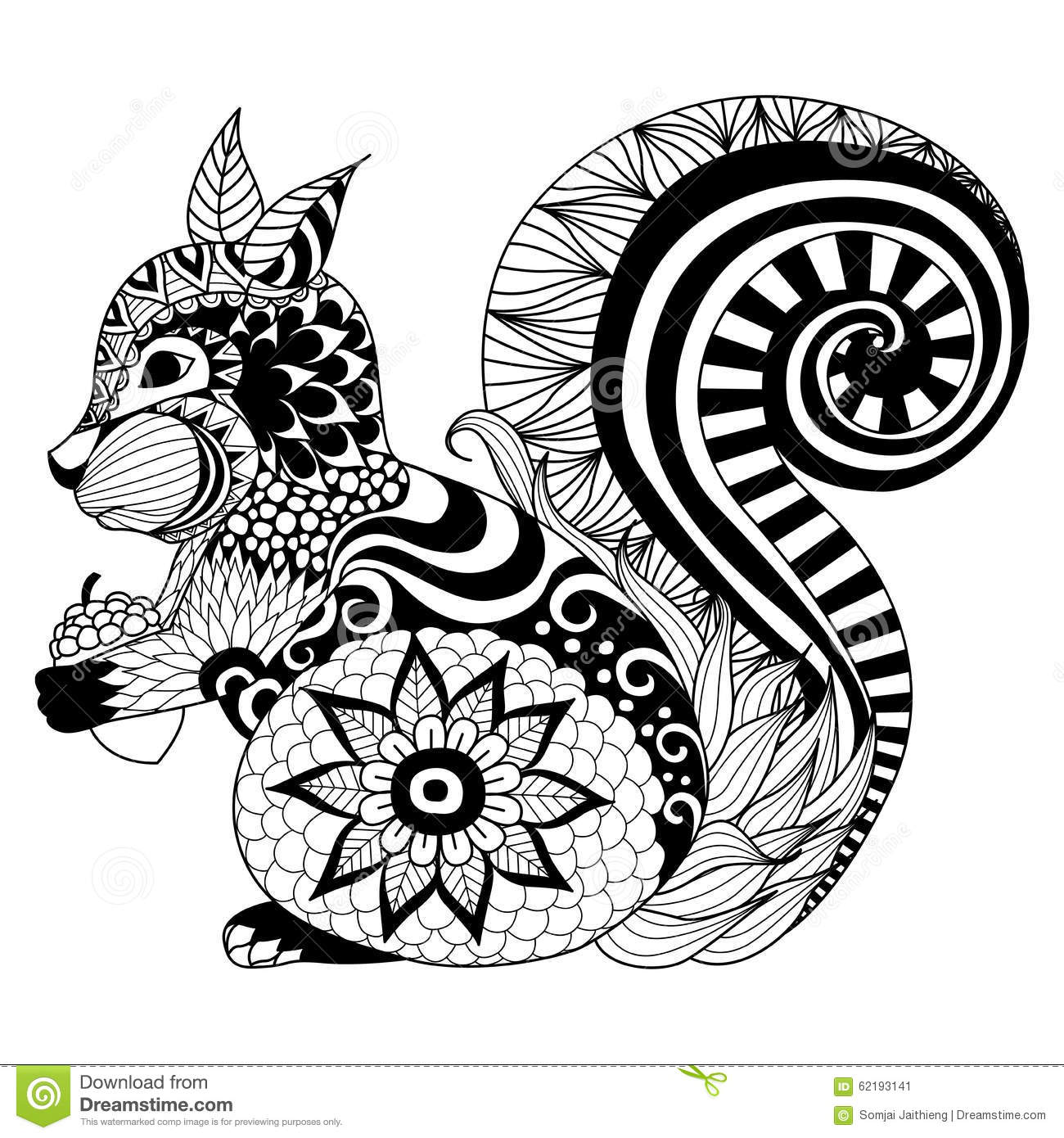 Squirrel Zentangle Style For Coloring Booktattoot Shirt Designlogo