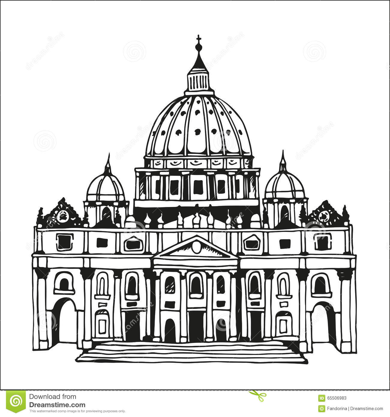 the sketch of basilica and expiatory church of the holy family cartoon vector