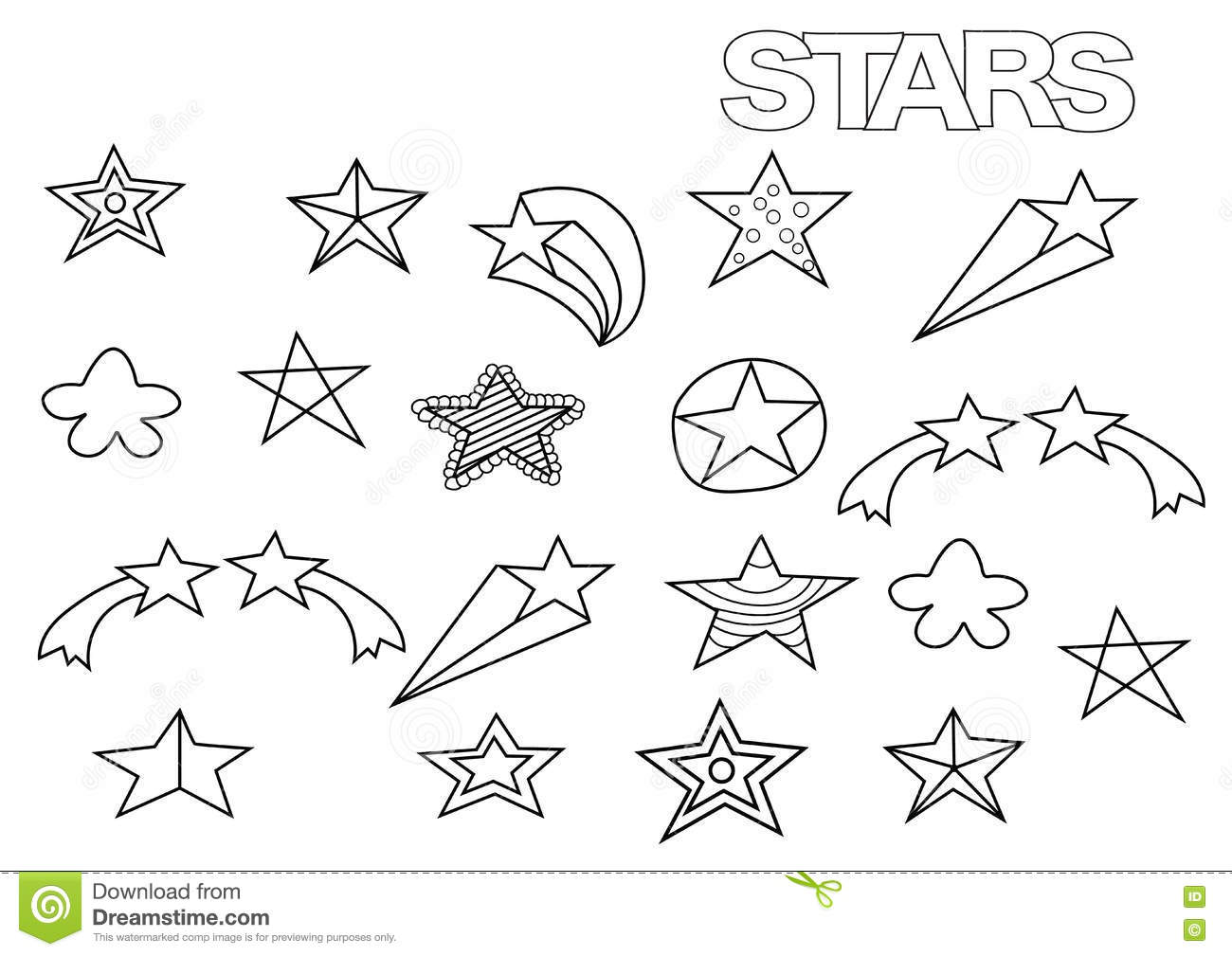 Hand Drawn Stars Set. Coloring Book Page Template. Stock ...