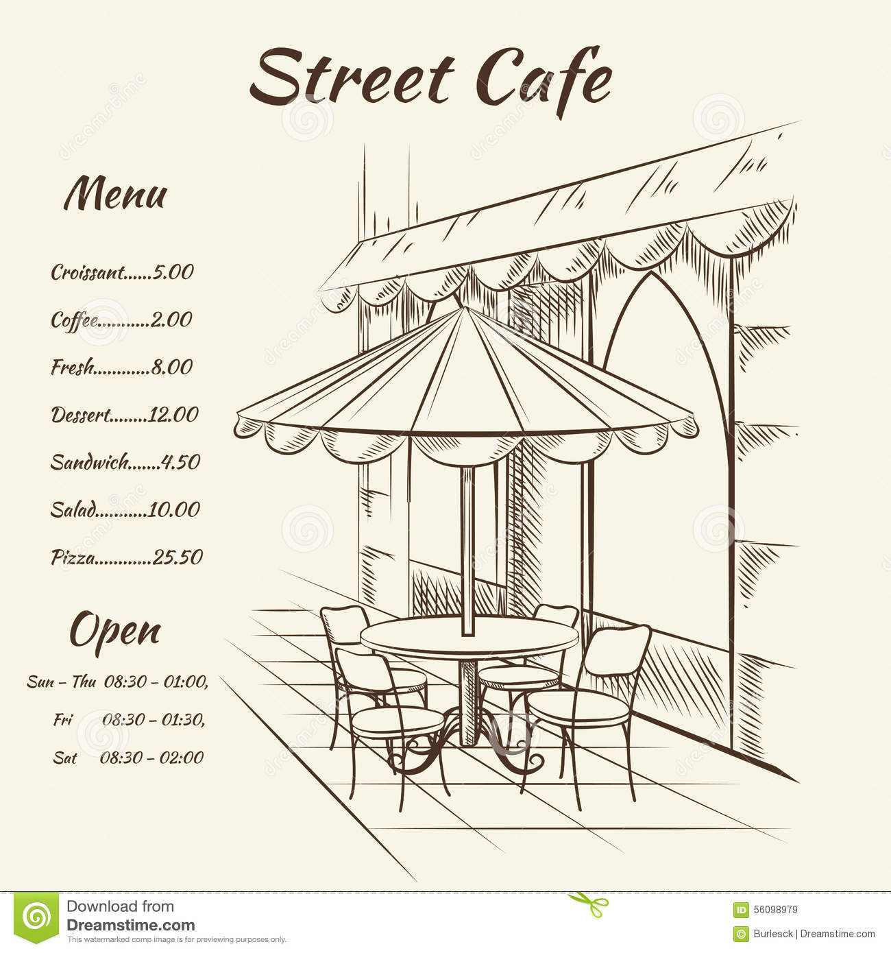 Cafe Coffee Shop Interior Line Hand Drawing Stock Image