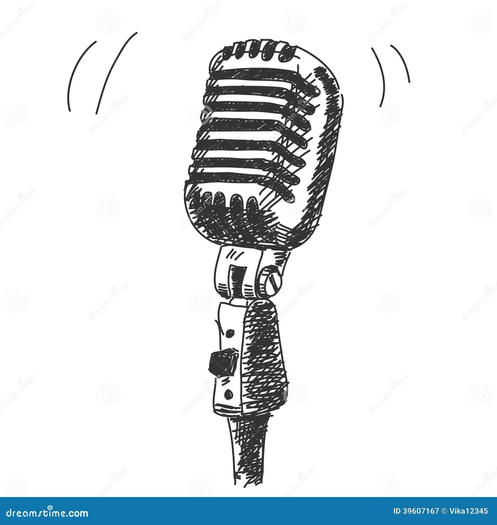 Line Art Microphone : Hand drawn studio microphone stock vector illustration