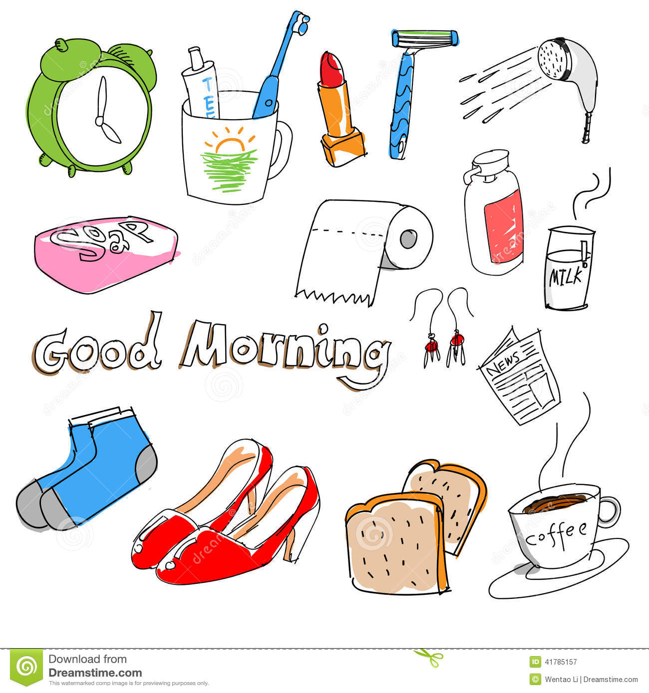 Download Hand-drawn Stuff In The Morning Stock Vector - Illustration of moring, hand: 41785157