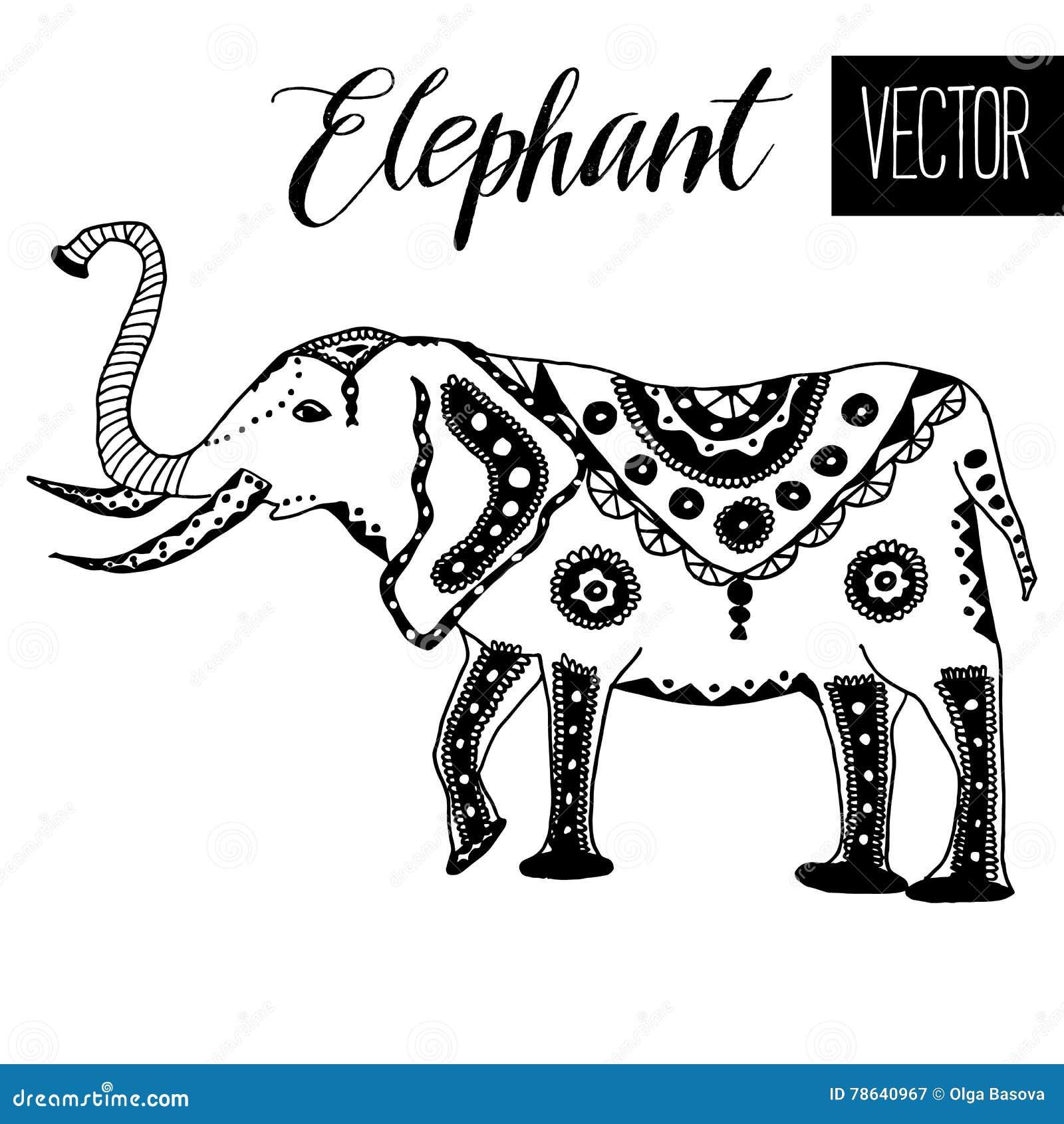 Hand drawn stylized elephant.