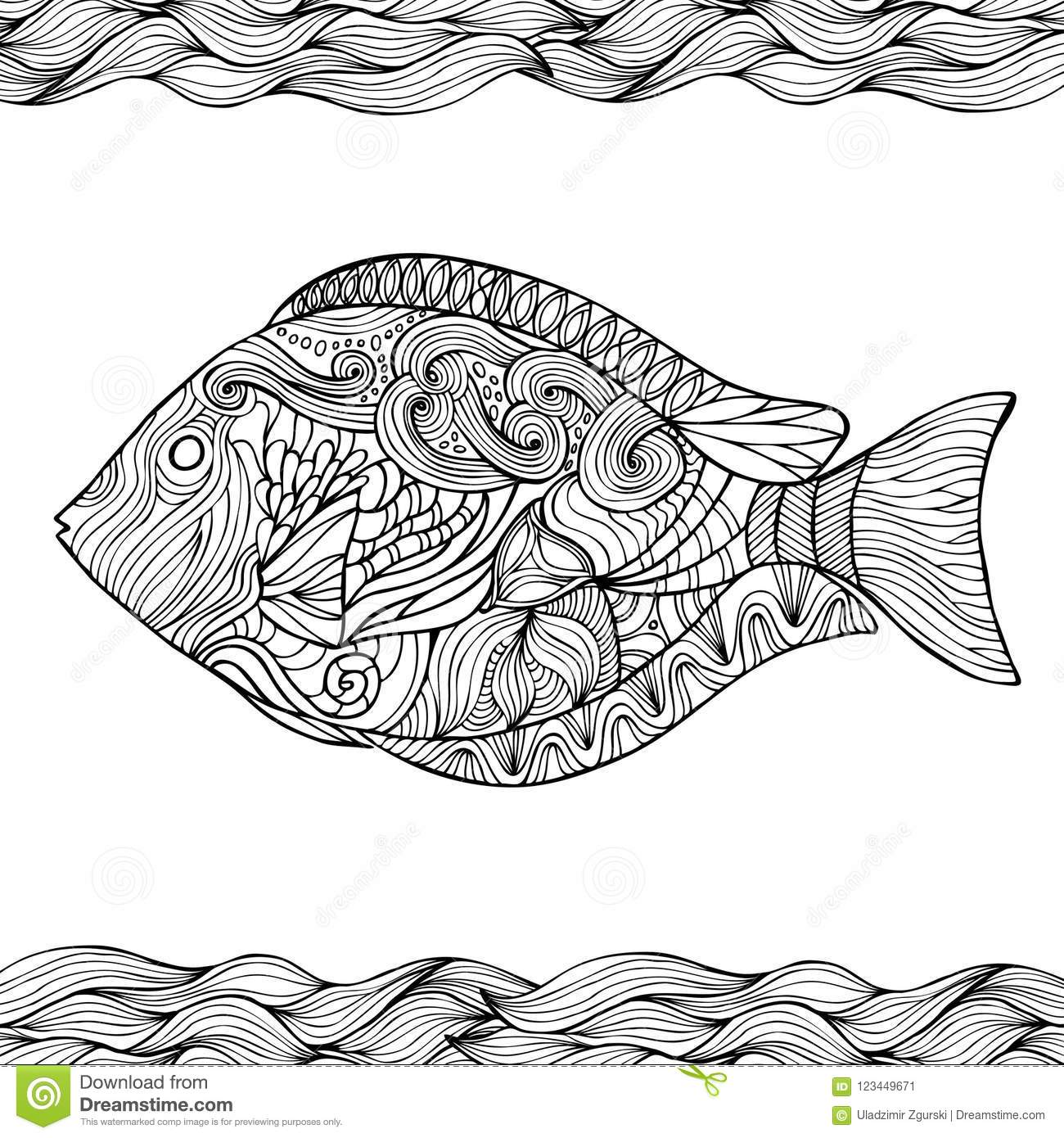 Hand Drawn Stylized Fish With Doodle, Zentangle, Floral