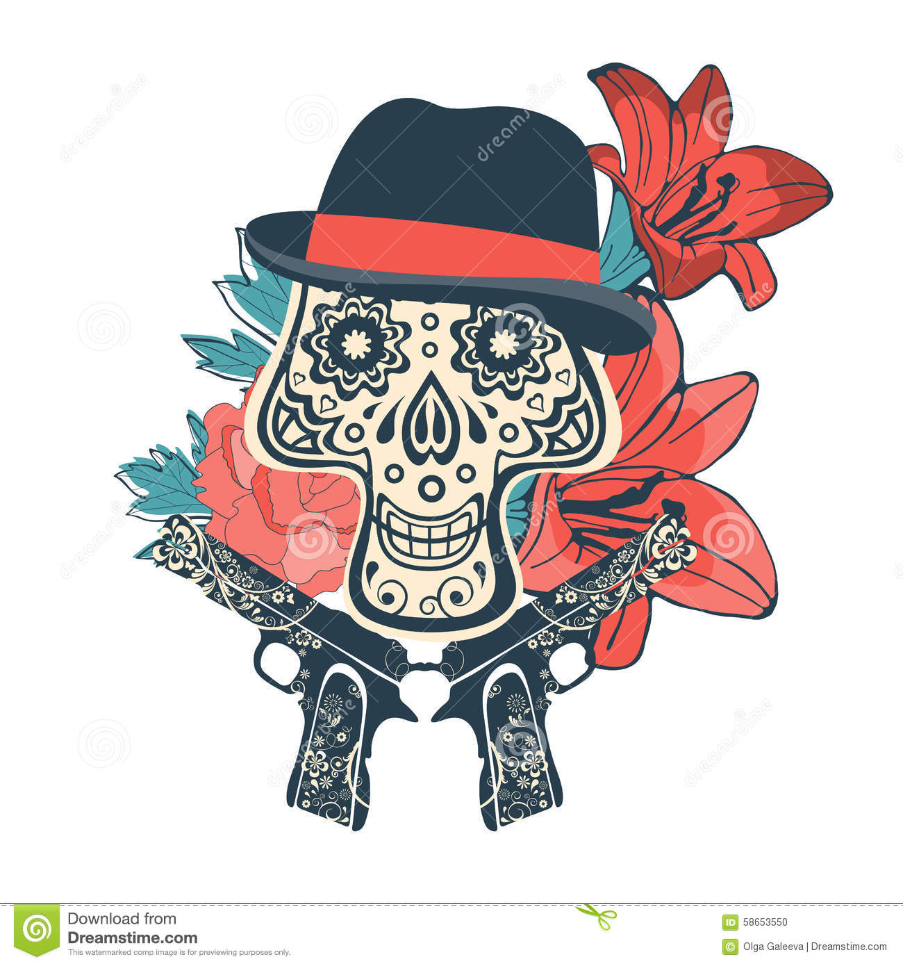 hand drawn sugar skull with flowers and guns stock vector