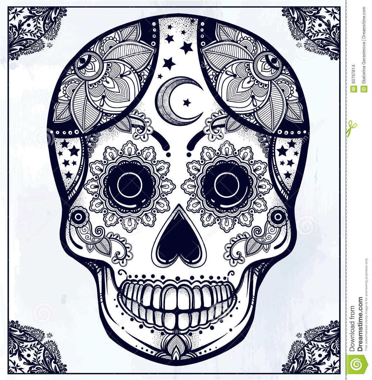 Hand Drawn Sugar Skull Ornate Frame Illustration