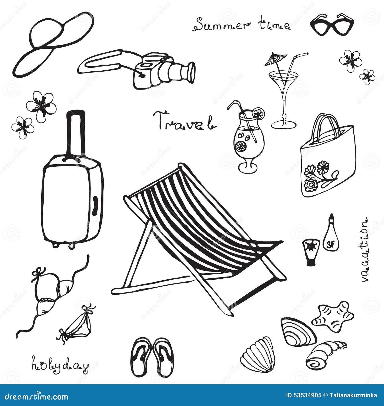 Beach chair and umbrella sketch - Hand Drawn Summer Beach Set Royalty Free Stock Photo