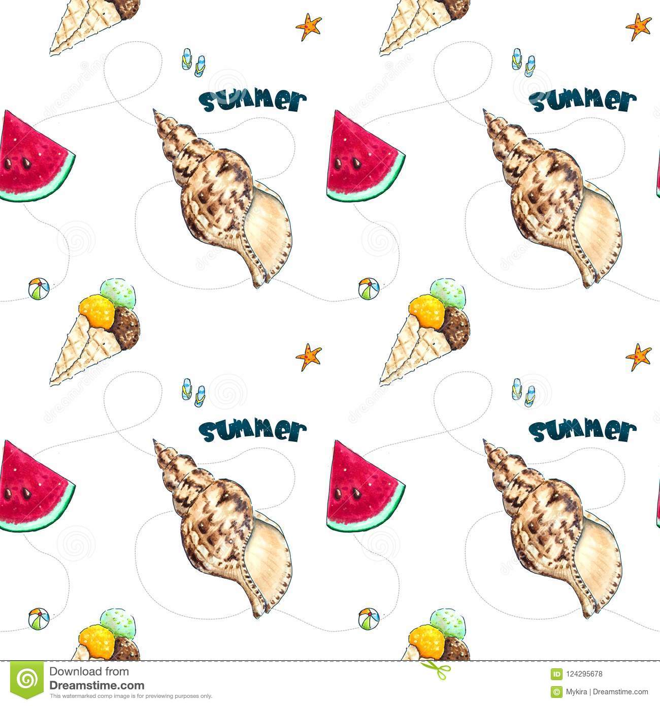 Download Hand Drawn Summer Seamless Pattern On White Stock Illustration - Illustration of graphic, print: 124295678
