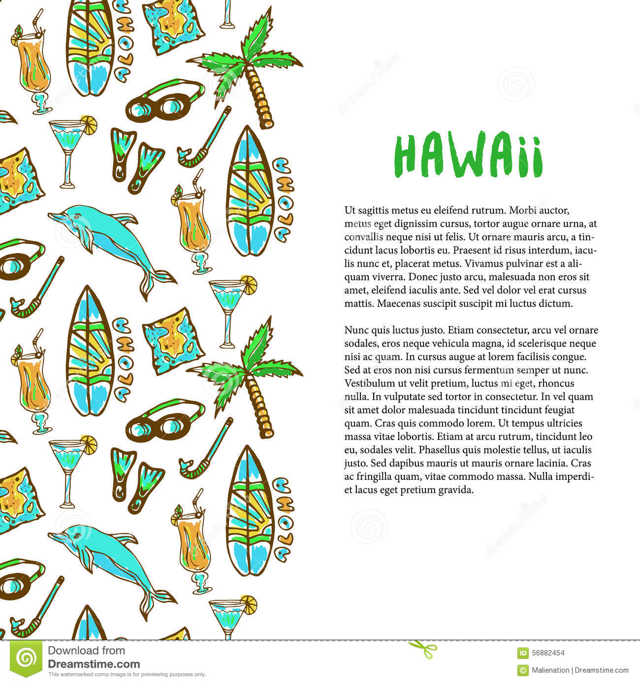Hand drawn surfing and diving decoration hawaii holiday for Hawaii brochure template