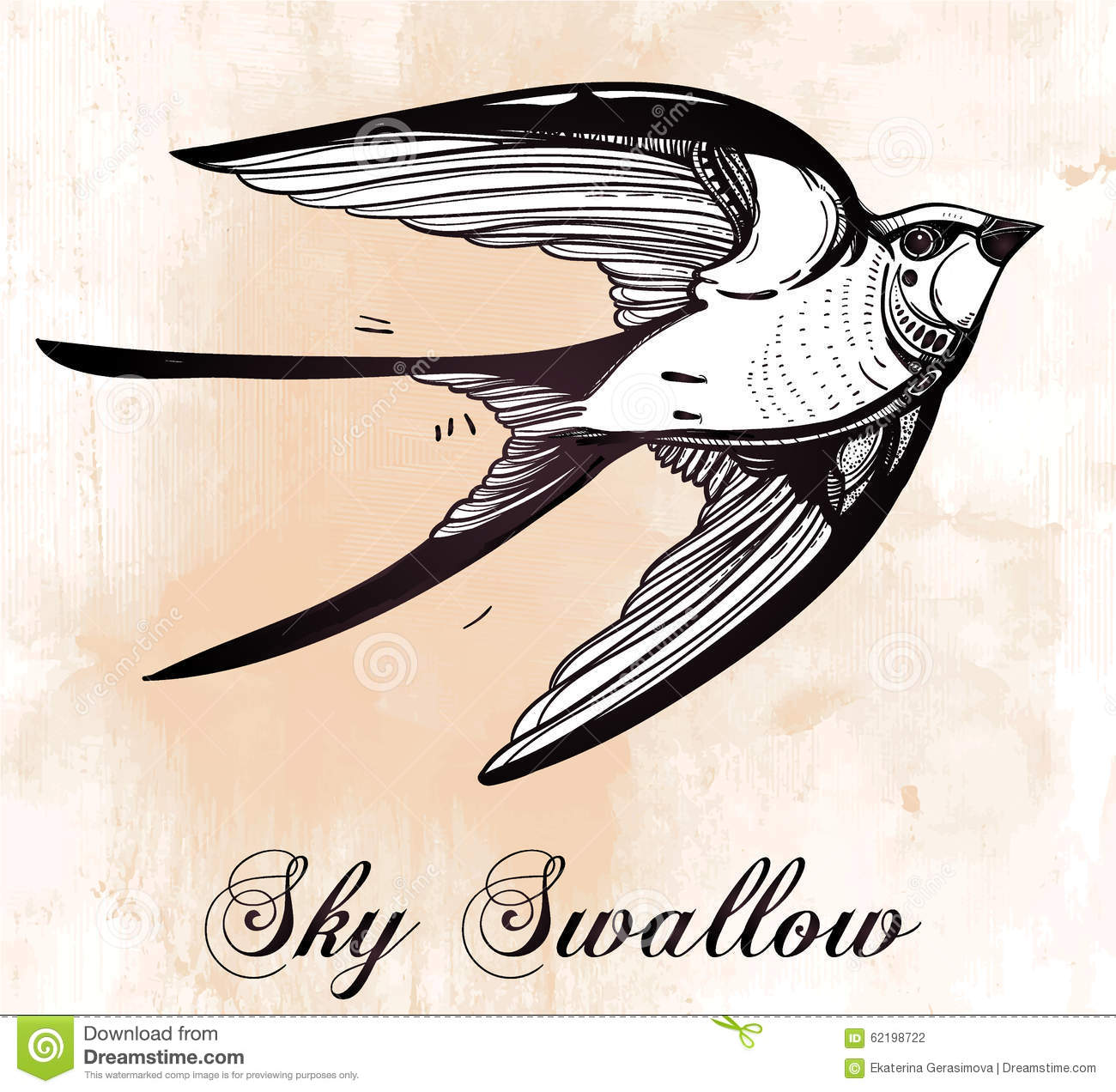 Set of sketches of flying swallows stock vector illustration - Royalty Free Vector Art Bird Drawn Elegant Flying Illustration Retro Style Swallow