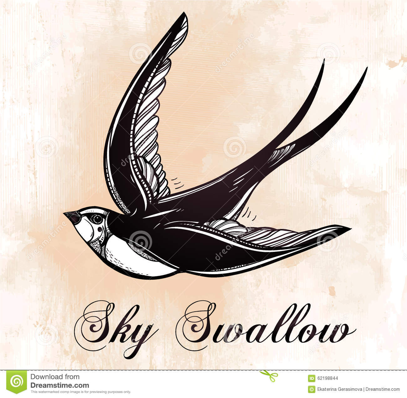 Hand drawn swallow bird vintage retro style stock vector for Swallow art tattoo