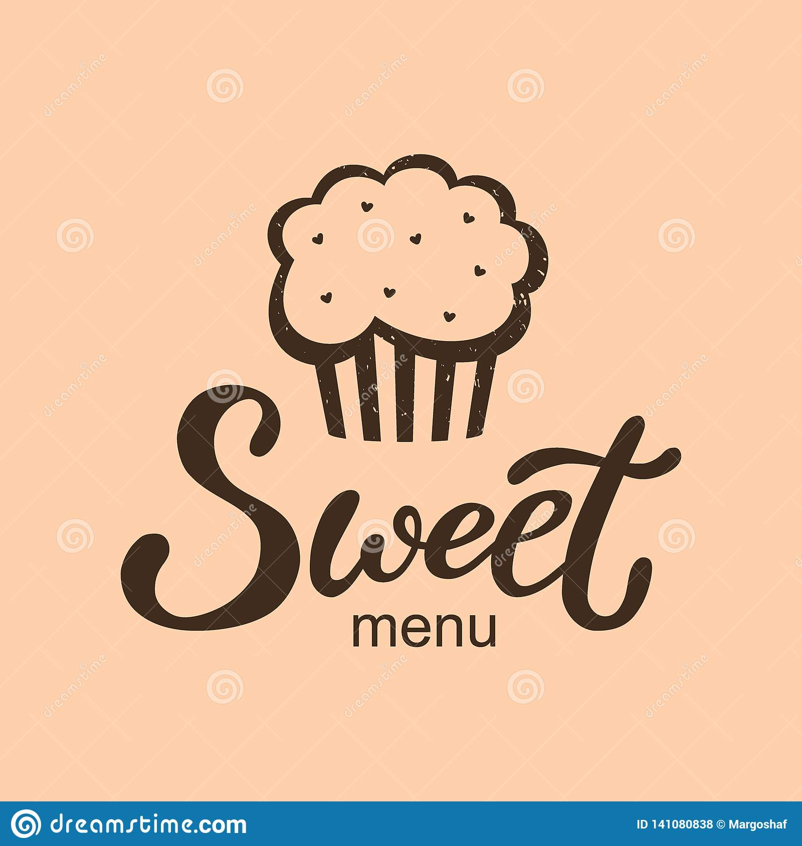 hand drawn sweet menu logo typography lettering poster with cupcake on background isolated text and drawing for business card stock vector illustration of graphic sweet 141080838 dreamstime com