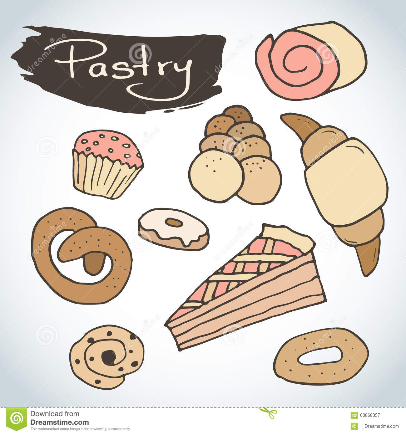 hand drawn sweet pastry set bakery elements sketch excellent for
