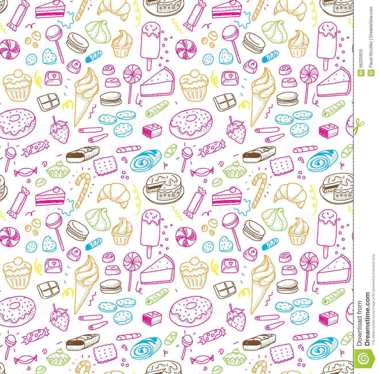 Hand Drawn Sweets And Candies Pattern Vector Doodles