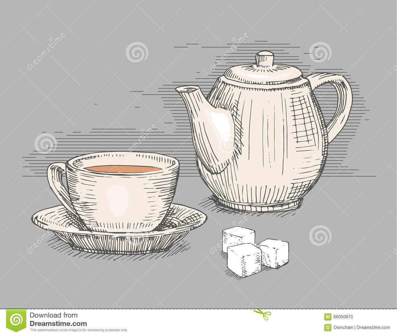 Hand Drawn Teapot With Cup Of Tea Stock Photo Image