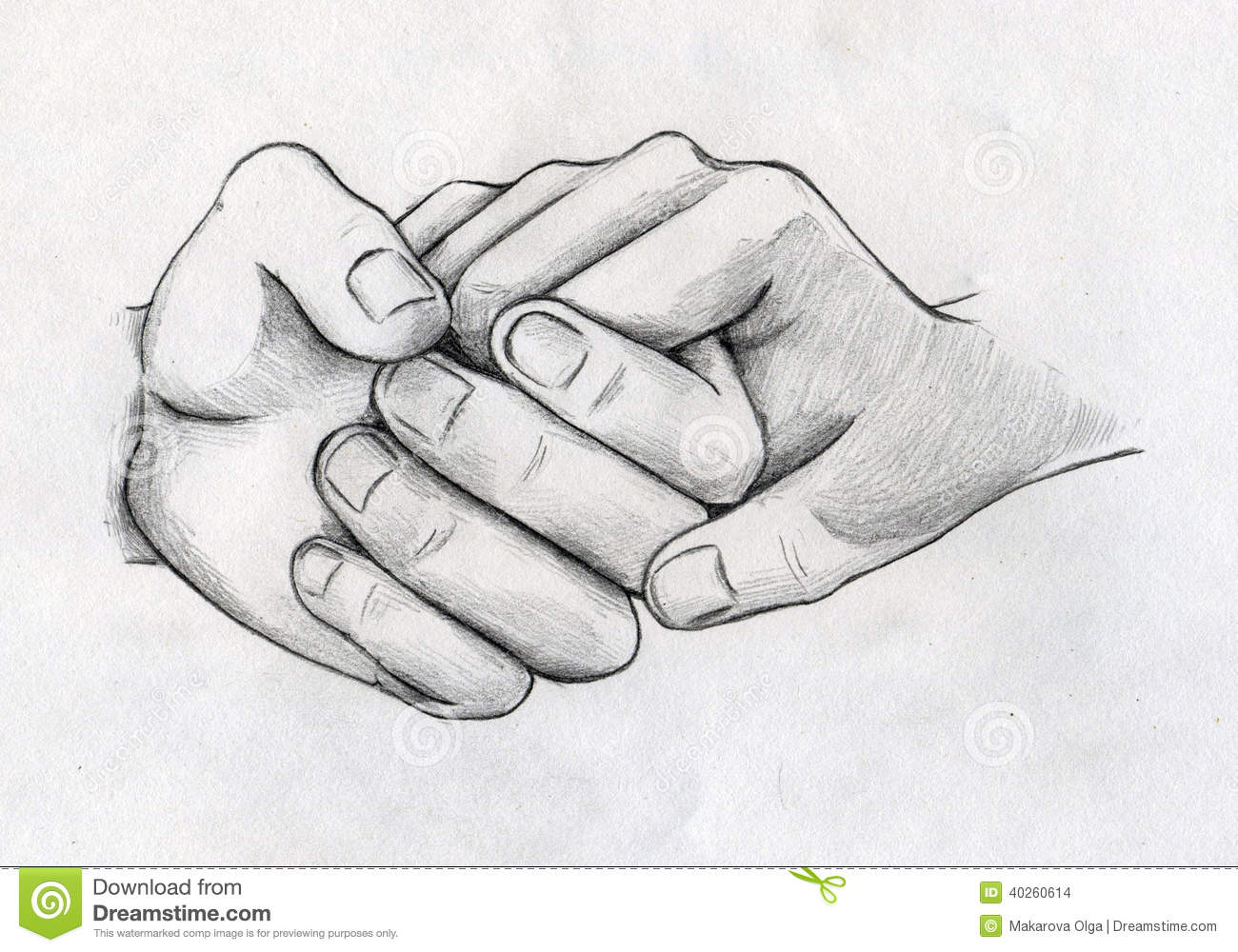 Tender hands of two people who love each other pencil drawing sketch