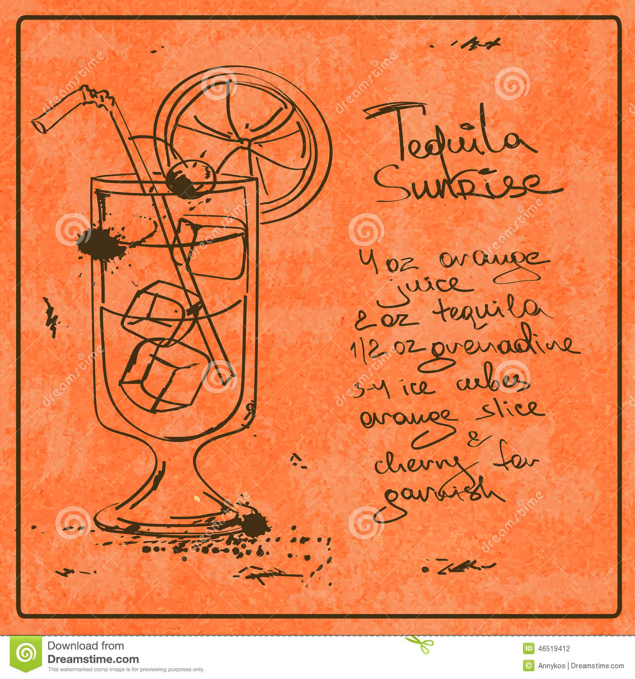 Hand drawn tequila sunrise cocktail stock vector image for Cocktail recipes with ingredients on hand