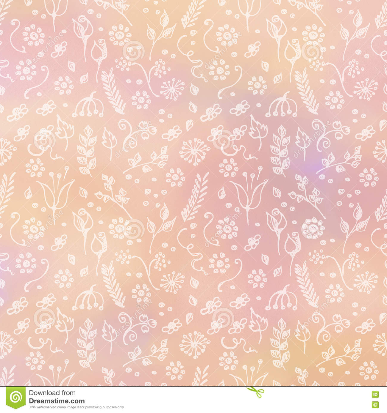 hand drawn textured floral background coral template with little