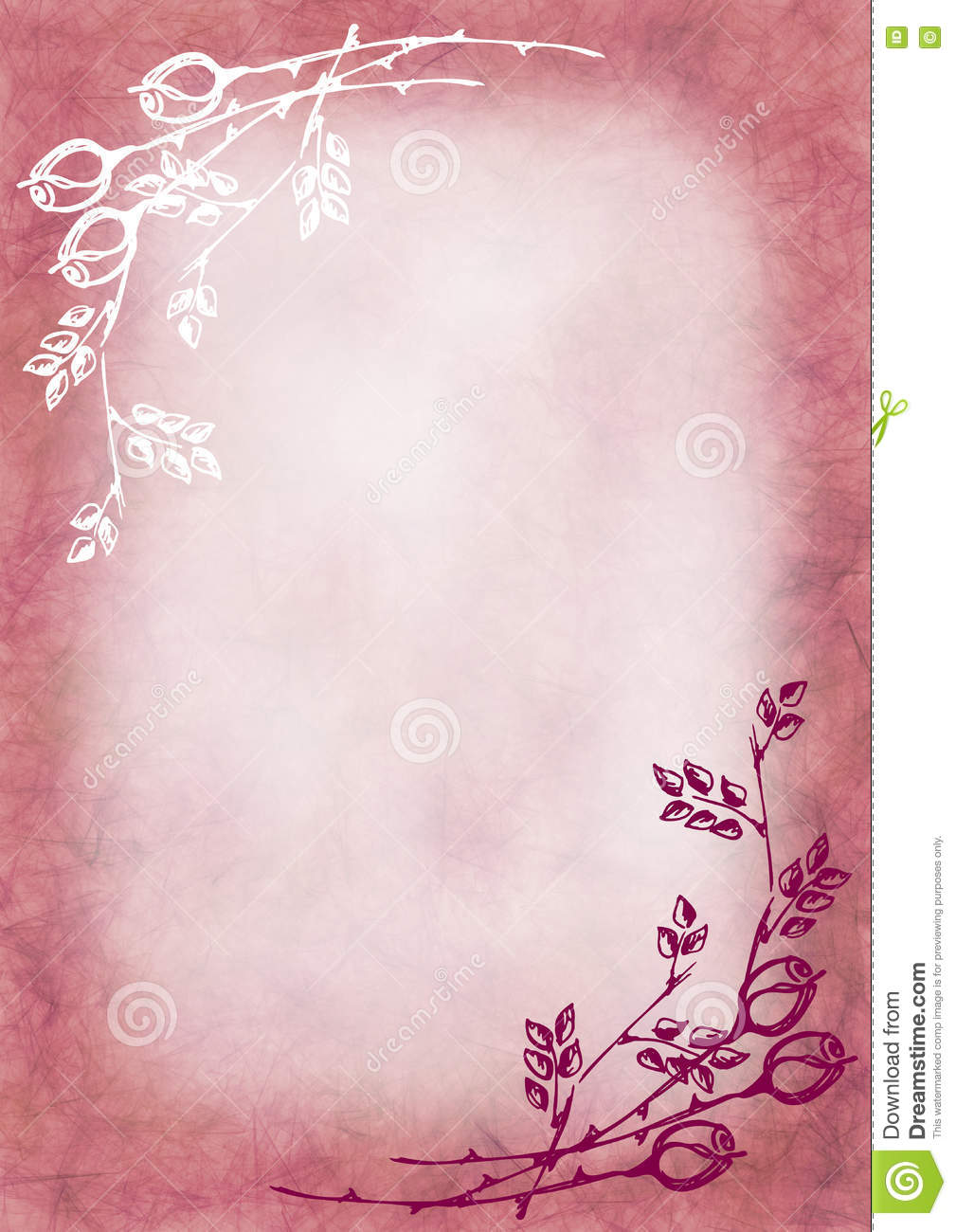 hand drawn textured floral background in pink colors with rose and