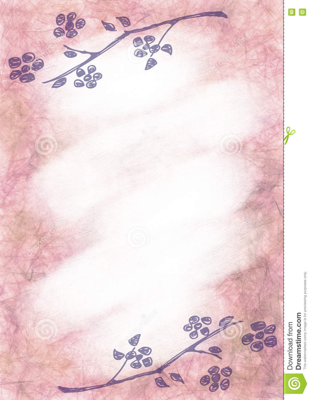 Hand Drawn Textured Floral Background  Vintage Card With