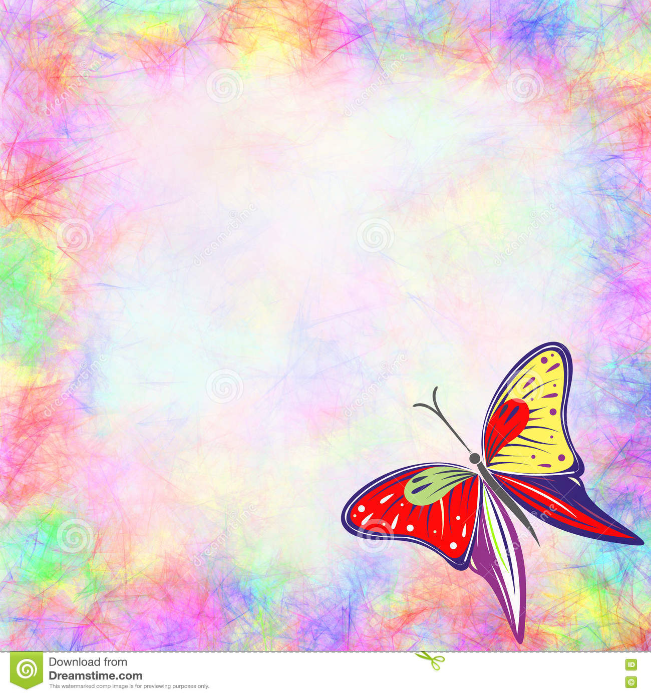 Hand Drawn Textured Watercolor Background With Insect Stock
