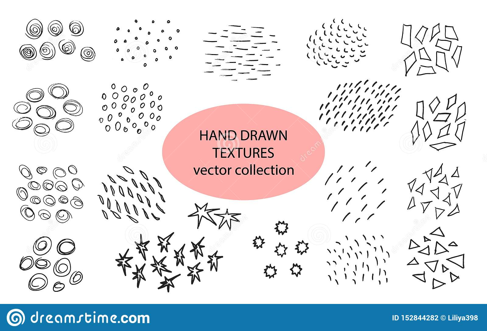 Hand drawn textures, template. Vector design elements. Set of background texture, points, strokes,circles,lines,stars
