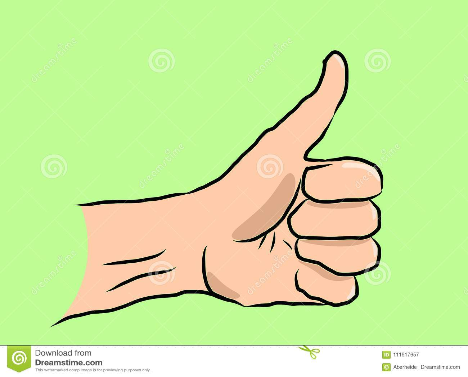 Hand drawn thumb up on green