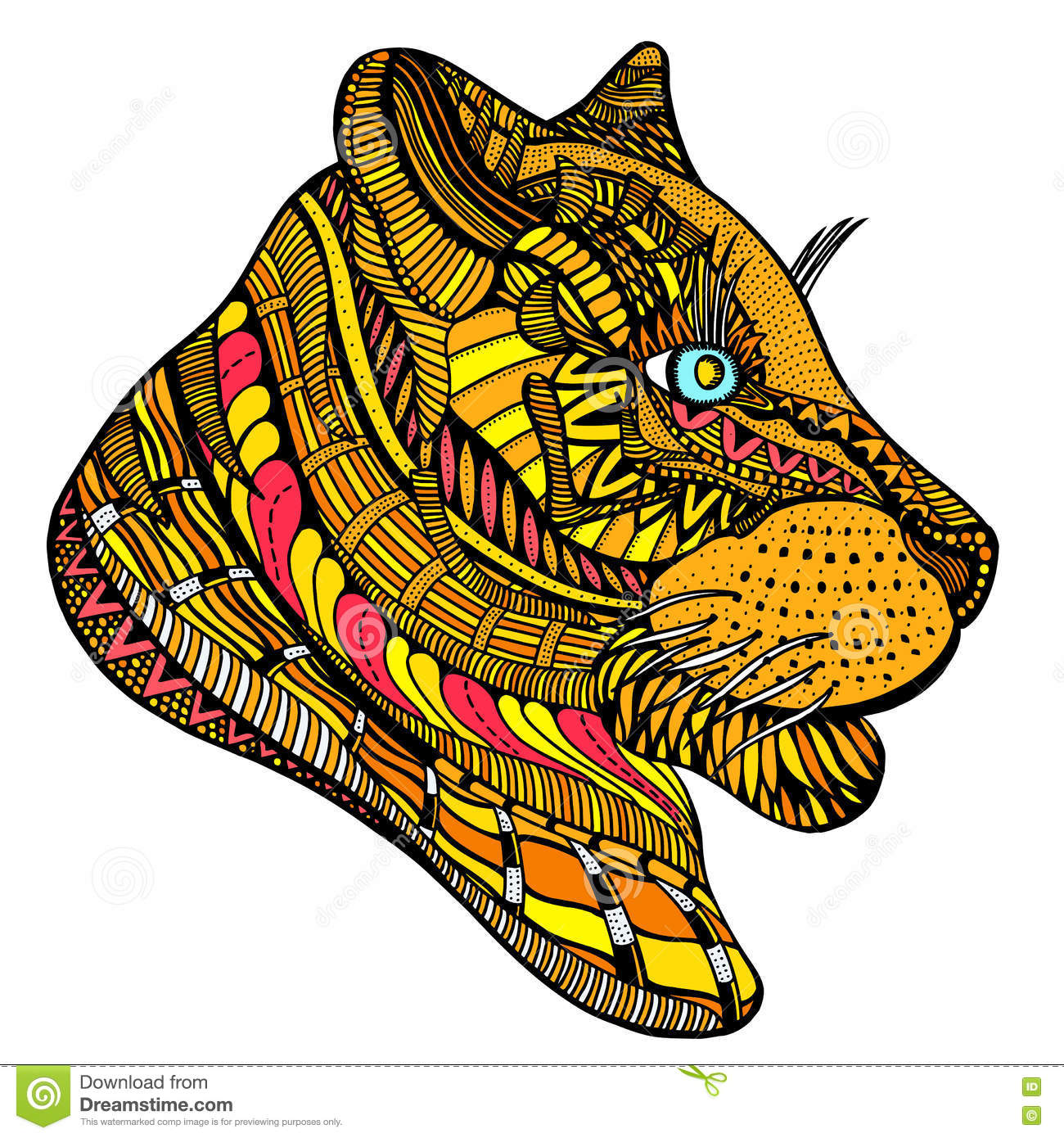 Hand Drawn Tiger Head Stock Vector Illustration Of Lion