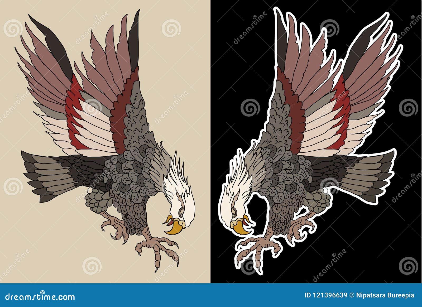 American Traditional Eagle Tattoo Design