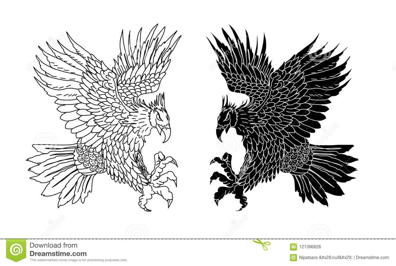 hand drawn traditional japanese eagle native american eagleeagle tattoo isolate vector hand drawn traditional japanese eagle native american eagle attacking old school tattoo design