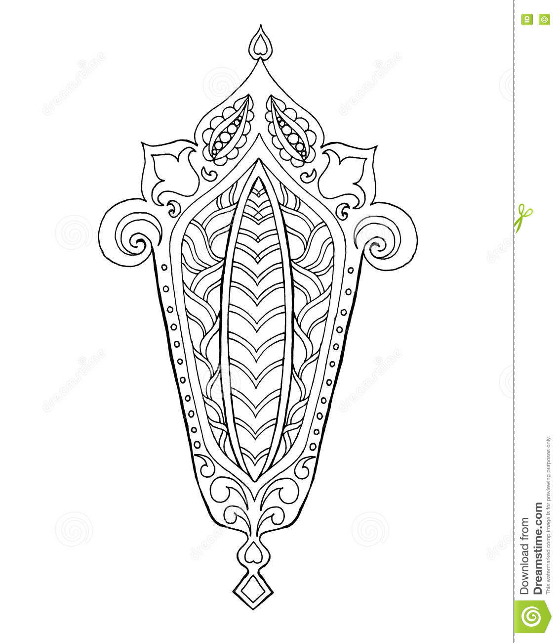 Hand Drawn Traditional Lantern Ramadan Engraved Vector Illustration Sketch Coloring Page Decoration Greeting Card Poster Kareem Doodle