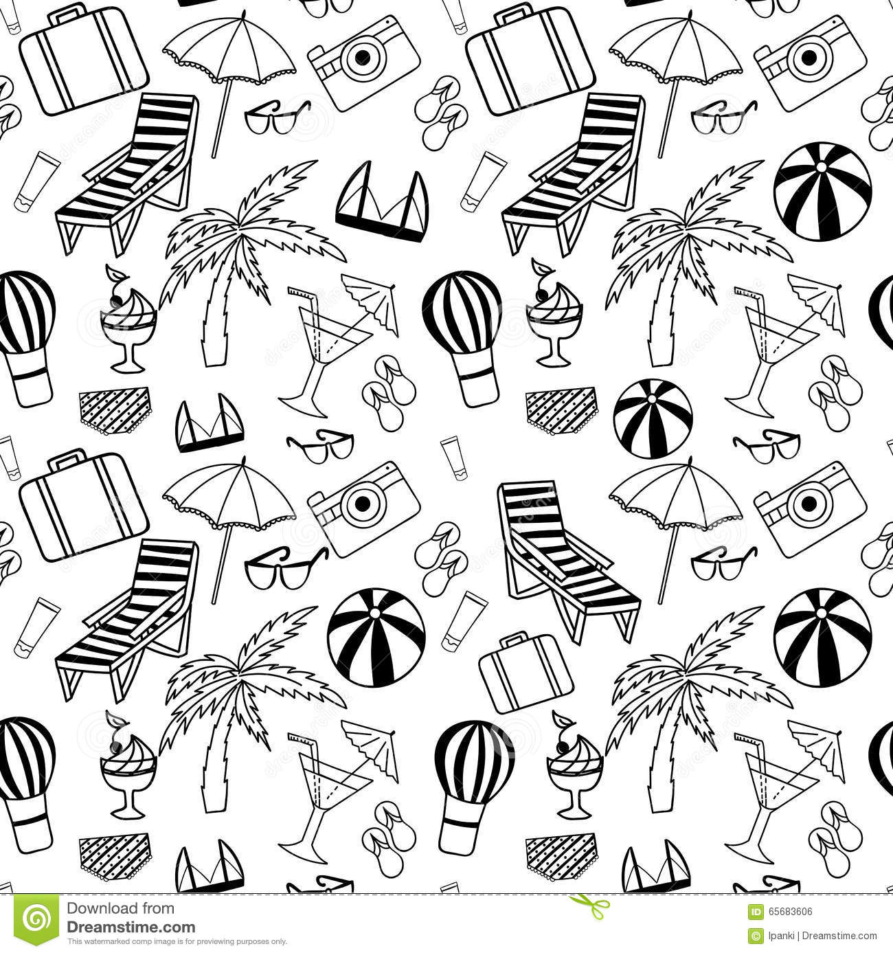 Hand Drawn Travel Seamless Pattern For Adult Coloring Pages Royalty Free Vector